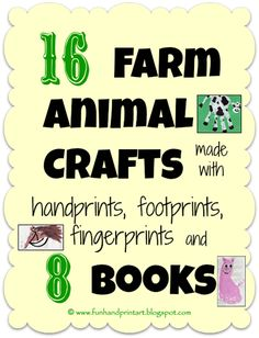 Farm Animal Crafts made with handprint, footprints, & thumbprints + 8 Books!