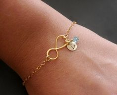 Personalized Infinity Bracelet, Gold Infinity Bracelet with Initial Birthstone, New Mom Bracelet Infinity Real 14K Gold Fill Bracelet