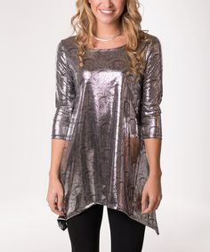 Another great find on #zulily! Metallic Silver Peacock Sidetail Tunic #zulilyfinds