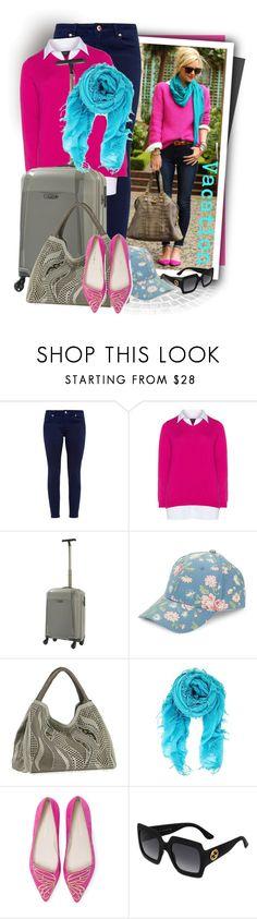 """Zhenzi Pink / White Plus Size 2-in-1 collared shirt jumper"" by tasha1973 ❤ liked on Polyvore featuring Ted Baker, Zhenzi, Epic, BCBGeneration, NADA SAWAYA, Chan Luu, Sophia Webster and Gucci"