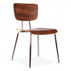 Bergen Chair With Chrome Frame - Walnut