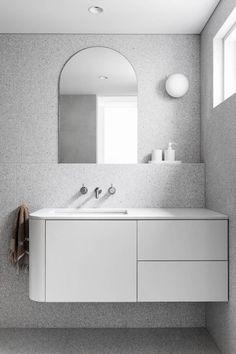 A Minimalist Family Home in Northcote That Celebrates Natural Light – Barnaby Lane AU Bathroom Vanity Designs, Bathroom Trends, Bathroom Interior Design, Modern Bathroom Vanities, Washroom Vanity, Bathroom Ideas, Remodled Bathrooms, Mirror Bathroom, Modern Vanity