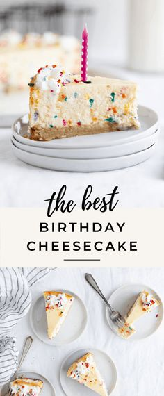 The best ever easy birthday cake cheesecake with a sugar cookie crust and loaded with multicolored sprinkles! The best ever easy birthday cake cheesecake with a sugar cookie crust and loaded with multicolored sprinkles! Desserts Keto, Easy Cheesecake Recipes, Just Desserts, Delicious Desserts, Dessert Recipes, Xmas Recipes, Homemade Cheesecake, Birthday Cake Cheesecake, Birthday Cake Cookies