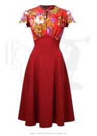 40s Grable Tea Dress - Crimson Dreams