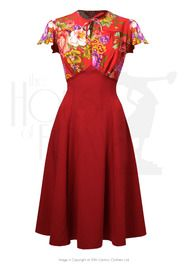 40s Grable Tea Dress - Crimson Dreams