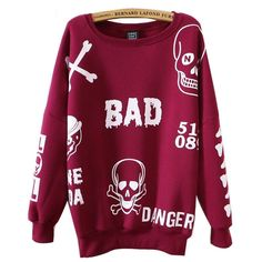 Punk Skull Print Outwear Pullover