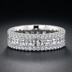 French-Cut Wide Diamond Band - Lang Antiques. If I wore just one ring this would be perfect!