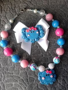 Octopus necklace and bow set! <3 #cofbeads handmade #polymer