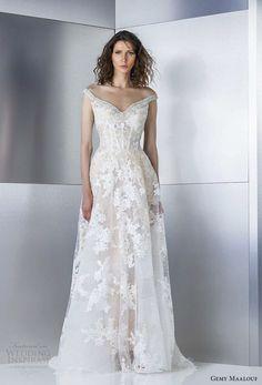 gemy maalouf 2017 bridal off the shoulder v neck full embellishment elegant modified a  line wedding dress open v back sweep train (4823) mv