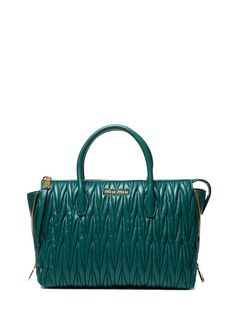 """Miu Miu Matelassé Leather Zip Gusset Small Satchel (green) ~ US$1,459 (Original: $1,830) http://www.gilt.com/invite/feature   - Matelassé leather - Double rolled top handles and optional, adjustable shoulder strap - Zip gussets at sides - Leather interior lining with three slip pockets and one zip pocket - Zip top closure - Body length 12½"""", height 9½"""", width 6"""", drop handle 6"""", strap drop 22"""" - Material: Leather - Origin: Italy"""