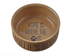 'Home Is Where' Dog Bowl Deep ceramic dish. Perfect for larger dogs and messy eaters.