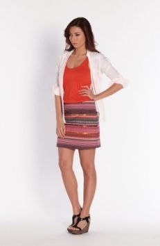 Fabulous embellished stretch skirt with sequins adds some everyday glamour to Spring Summer 14. Team it with your choice of hot orange, pinks, lilacs, greys and indigos. Miss Captain by Captain Tortue Spring Summer 14.