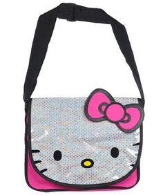 30bb8393301e Sanrio Black and Pink Face Hello Kitty Messenger Bag - Hello Kitty ...