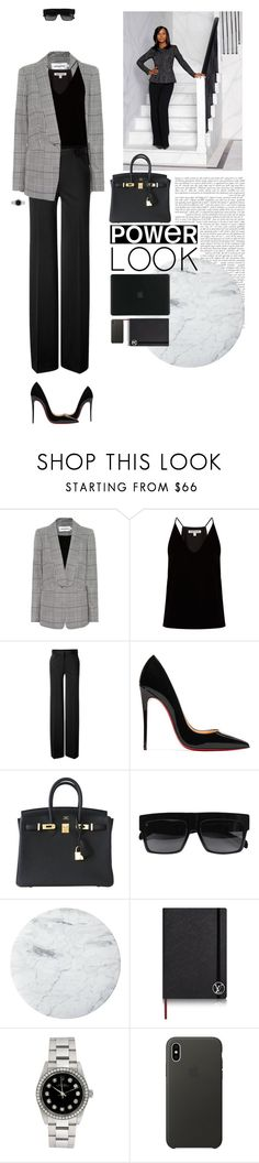 """""""Gladiator in Suit"""" by axel-lewi ❤ liked on Polyvore featuring self-portrait, Elizabeth and James, Philosophy di Alberta Ferretti, Christian Louboutin, Hermès, CÉLINE, Apple, Tucano, girlpower and powerlook"""
