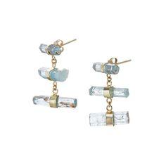 Aquamarine Bezel Drop Studs