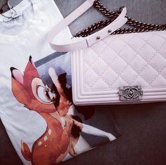 Givenchy Bambi tee & white Chanel Boy