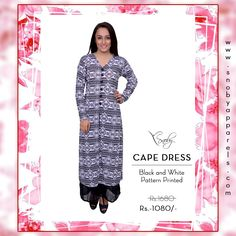 Buy Latest Pattern Printed Cape Dress jus for Rs.1,080/- http://www.snobyapparels.com/women/western-wear/dresses/black-white-onepiece.html