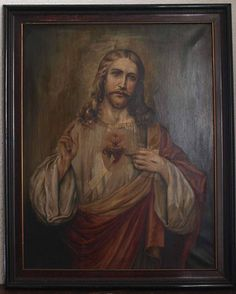 Etsy のSacred Heart of Jesus Christ Sacre Coeur Framed Hand Painting Picture Religious Antique /230(ショップ名:GliciniaANTIQUE)