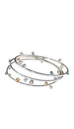 Visibly Interesting: Set of three solid Sterling Silver bangle bracelets by artist Lauren Chisholm. Each bangle features different bezel-set stones: White Topaz, Blue Topaz and Citrine Modern Jewelry, Jewelry Art, Jewelry Accessories, Fine Jewelry, Fashion Jewelry, Jewelry Design, Jewelry Making, Jewellery, Sapphire Bracelet