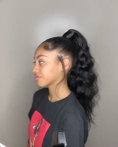 hair wigs # ponytail Hairstyles for black women brazilian virgin human hair wig for balck women Hair Ponytail Styles, Black Ponytail Hairstyles, Sleek Ponytail, Baddie Hairstyles, My Hairstyle, Braided Hairstyles, Black Hairstyles With Weave, Ponytail With Weave, Latina Hairstyles