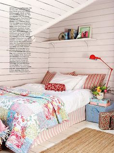 *Pretty quilt & bed skirt, again with the above-bed shelf