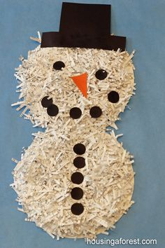 Shredded Paper Snowman ~ Housing A Forest