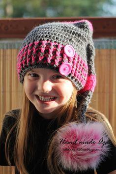 Crochet with love - Hand made Ája: Skřítková čepička made by Ája Crochet For Kids, Crochet Baby, Hat Crochet, New Year Poem, Girl With Hat, Beanie Hats, Headpiece, Crochet Projects, Winter Hats