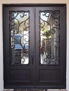 D'Vine Double Front Entry Doors, Iron Front Door, Exterior Front Doors, House Front Door, Glass Front Door, Entrance Doors, Front Door Design, Front Door Decor, Steel Gate Design
