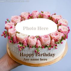 romantic and lovely birthday cake with name and photo edit Happy Birthday Flower Cake, Happy Birthday Wishes Song, Birthday Wishes With Photo, Birthday Cake Write Name, Birthday Cake Writing, Happy Birthday Cake Pictures, Birthday Wishes Flowers, Happy Birthday Wishes Cake, Happy Birthday Frame