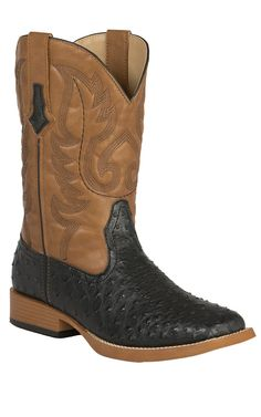 Roper Men's Black Ostrich Print with Tan Top Double Welt Square Toe Western Boots