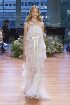 Monique Lhuillier Bridal Week Fall 2017 - http://www.stylemepretty.com/2016/10/12/monique-lhuillier-bridal-week-fall-2017-wedding-dresses/