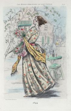 1844 [Women's fashion in nineteenth-century Paris] From New York Public Library Digital Collections.