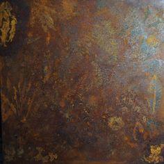 """"""" Gigante # 2 """" Pseudofossile Spettro Natura per Terezin.(#6). Quadrato-Rombo .Impronte di felci e foglie su ferro ossidato, cm 70 x 70, 2014."""