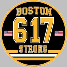 Boston Strong Bruins 617 Black & Gold Car Magnet