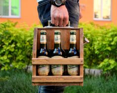 Six Pack Beer Tote With Custom Monogram for by ReImagineBrewing