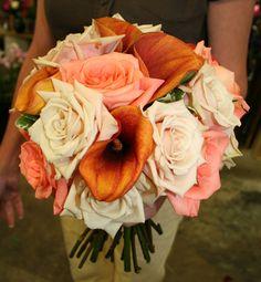 Beautiful Fall Wedding Bridal Bouquet - Roses & Calla Lilies - At Jacqueline's Florist