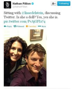 Nathan and Lisa on the set of Castle