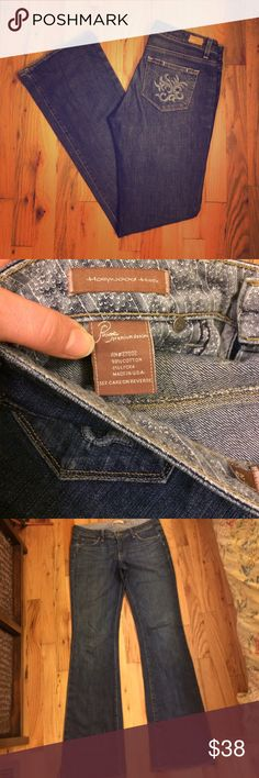 """Paige Flare Jeans Paige premium denim size 29 Hollywood Hills jeans. A 33"""" inseam makes these perfect for someone super tall. These are too long on me and I don't wear heels which is why I'm selling. These are made from 98% cotton and 2% lycra and have a blue embroidered design on the back pockets. Paige Jeans Jeans"""