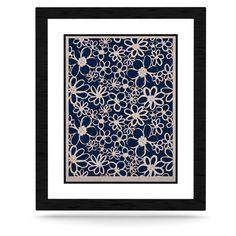 "Emine Ortega ""Daisy Lane"" KESS Naturals Canvas | KESS InHouse #canvas #burlap #floral #daisy #kess #kessinhouse #navy #blue #monochromatic #decor #home #accessory"