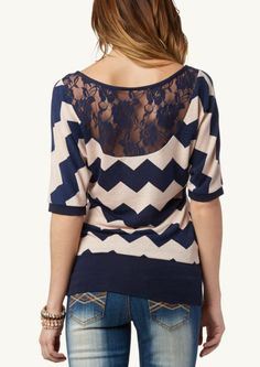 image of Chevron Lace Back Dolman Top