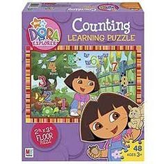 Nick Jr. Dora the Explorer Counting Giant Puzzle by Hasbro. $14.99. Learn counting with Dora the Explorer!  Kids can learn numbers 1 to 10 as they piece this giant floor puzzle together, featuring Dora and some of her favorite backyard creatures!  Assembled puzzle measures 2' x 3'! 48 pieces, assembled puzzle measures 2' x 3'.