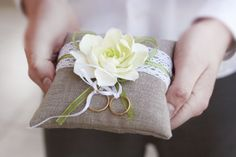 Rustic Ring Pillow. Linen Handmade Wedding Ring Pillow.