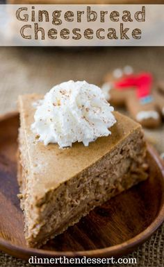 Gingerbread Cheesecake is creamy and tangy and full of warm holiday flavors that. Gingerbread Cheesecake is creamy and tangy and full of warm holiday flavors that is the perfect ending to your favorite holiday meal. No Bake Desserts, Just Desserts, Dessert Recipes, Baking Desserts, Holiday Baking, Christmas Baking, Gingerbread Cheesecake, Christmas Cheesecake, Gingerbread Cookies