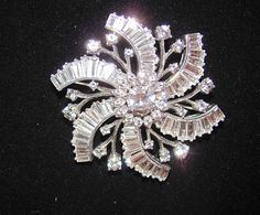 """Breathtaking Schreiner NY Sterling Silver Signed Channel Set Clear Baguette 2"""" Pinwheel Snowflake Flower Fine Jewelry by VintagePolice4U on Etsy"""