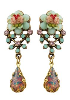 Michael Negrin Jewelry Flower Post Earrings With Tear Drop