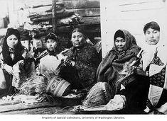 Five Tlingit women weaving spruce root baskets, ca. 1903