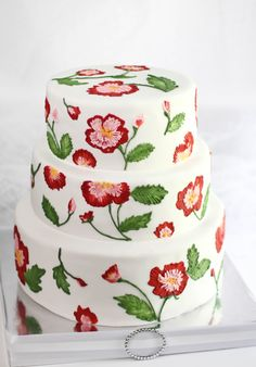 Sprinkle Bakes: Cabbage Rose Embroidery Wedding Cake - This has to be the prettiest thing I've seen in a long while and I wouldn't have guessed that I'd like it! Gorgeous Cakes, Pretty Cakes, Cute Cakes, Amazing Cakes, Bolo Floral, Floral Cake, Brush Embroidery Cake, Rose Embroidery, Wedding Embroidery