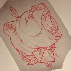 Grizzly bear sketch by Liam Smith at Lost City Tattoo, Perth TattooStage.com - Ratings and reviews for tattoo artists and studios. #tattoo #tattoos #ink