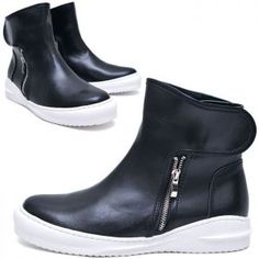 Velcro Double Zip High-Shoes 610 by Guylook.com       Great quality cowhide leather     Simple, comfy & stylish fashion kicks that you should not miss out     Velcro top & double size zips
