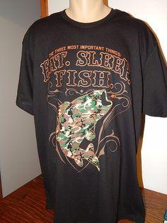 NWOT Eat Sleep and Fish Men's T-shirt Size 2XL Cotton blend Black #comfortBlend #GraphicTee